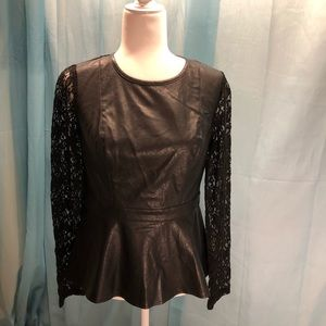 Faux Leather and Lace Top by Double Zero